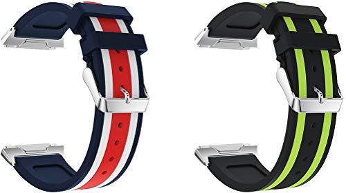 Chainfo Bandas de Repuesto Compatible con Fitbit Ionic, Reloj Correa de Silicona Suave Correas Pulseras Correa Deportiva Pulsera (2PCS C)