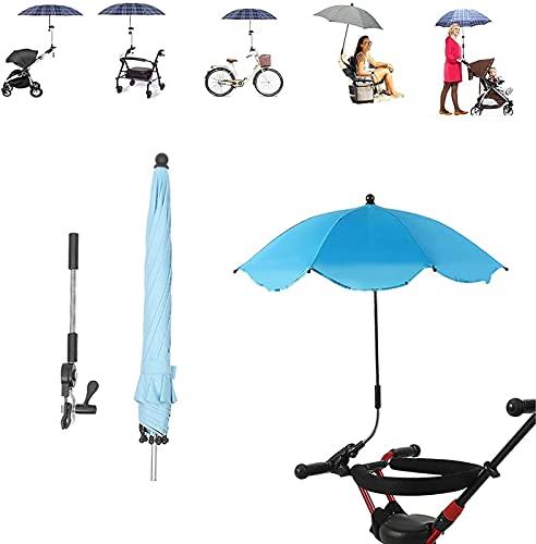 FHKSFJ Sombrilla Plegable portátil, sombrilla de Playa con Clip Universal, sombrilla de Cochecito Ajustable SPF 50+, Silla de Playa, Silla de Ruedas(Color:Blue)