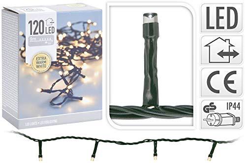 PERAGASHOP Luces de Navidad de 120 LED extra blanco cálido luz fija...