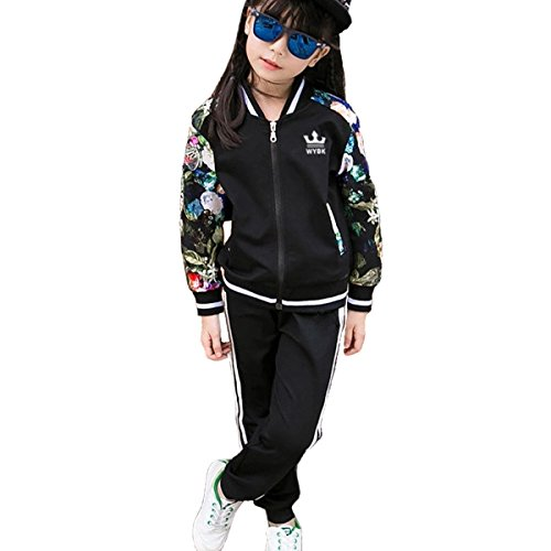 OnlyAngel Girls Fashion Tracksuits Zipper Jacket with Floral Sleeve and Elastic Waist Pant Size 3-11 yrs (4-5 Years, Black)