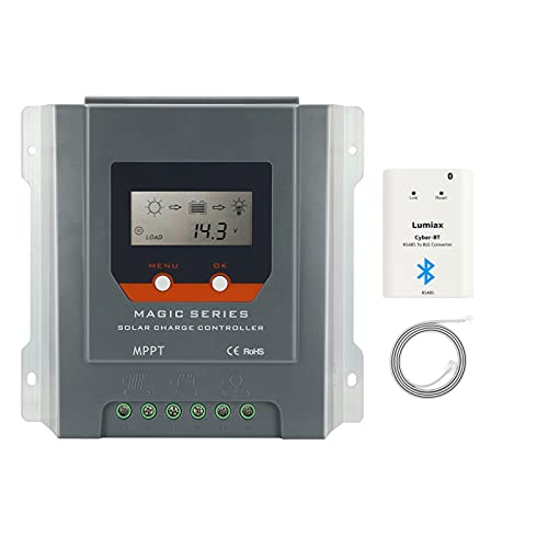 PowMr MPPT Charge Controller 40 amp 12V 24V auto - Negative Ground Solar Charge for Sealed Gel Flooded Battery, Energy-Recording Bluetooth Included
