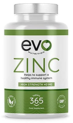 Zinc Tablets 40mg | 365 Easy to Swallow Zinc Gluconate Tablets | Contributes to Maintenance of Normal Immune System | 1 Years Supply | 100% Vegan | High Strength | Produced in the UK