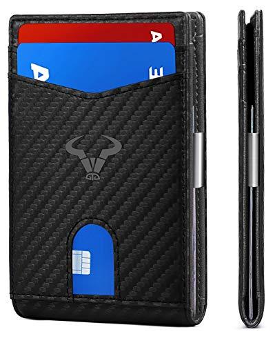 Slim Wallet Men,Bulliant Leather Wallet Front Pocket Card Holders for Men 3'X4.3' ,11Cards+Money Clip+Coin Pocket