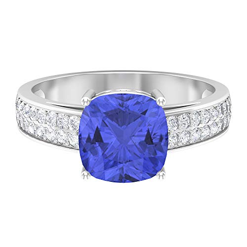 Anillo solitario de tanzanita de corte cojín de 8,5 mm, 1/2 ct D-VSSI, anillo de piedra lateral de moissanita, anillo de compromiso de oro (calidad AAA), 14K Oro blanco, Size:EU 47