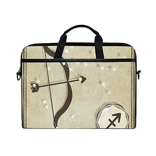 VICAFUCI New 15-15.4 Zoll Laptop Tasche,Umhängetasche,Handtasche,Tierkreis-Schütze-Hand gezeichnete Konstellation mit Schattenbild des Bogen-Pfeiles