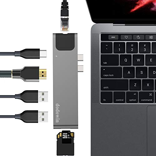 USB C HUB Kompatibel für MacBook Pro 2020-2016 MacBook Air 2020 2019 2018, MacBook Pro Adapter Zubehör mit 40Gbs Thunderbolt 3, 1* Gigabit Ethernet, 1 HDMI, 2 USB 3.1, SD/Micro SD Kartenleser (Grau)
