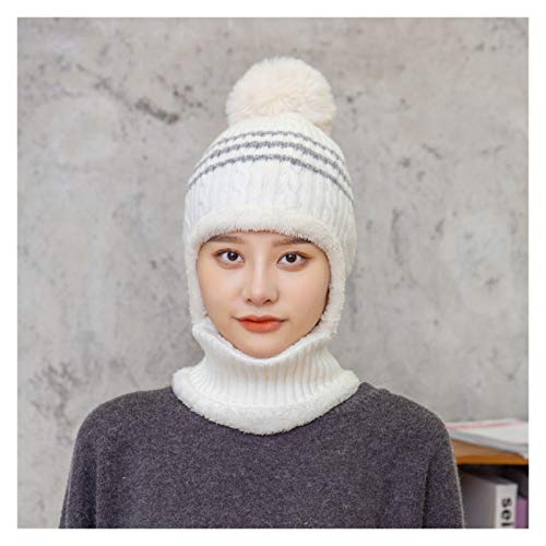 Female Winter Knitted Hats Add Fur Lined Warm Winter Hats for Women Keep Face Mask Warmer Pompoms Cap (Color : White)