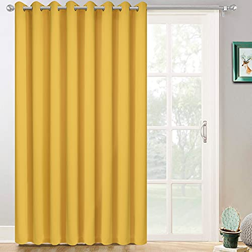 Yakamok Extra Wide Blackout Curtain for Sliding Glass Door, Grommet Thermal Insulated Room Divider Curtain 100W x 84L inch, Room Darkening Patio Curtain,8.3ft Wide x 7ft Tall, 1 Panel,Mustard Yellow
