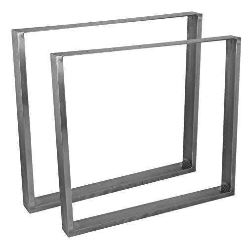 2 Pieds de table Rectangulaires fini Acier Brut & Protecteurs de Pieds Clipsable. 710mm x 800mm x 75mm