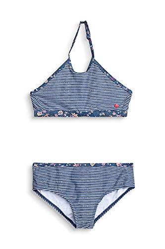 ESPRIT Gestreifter High-Neck-Bikini mit Blumen-Details