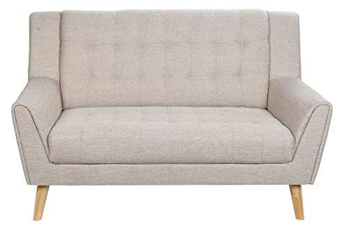 DRW Sofa 2 Plazas de Lino y Madera en Beige 143x80x90cm
