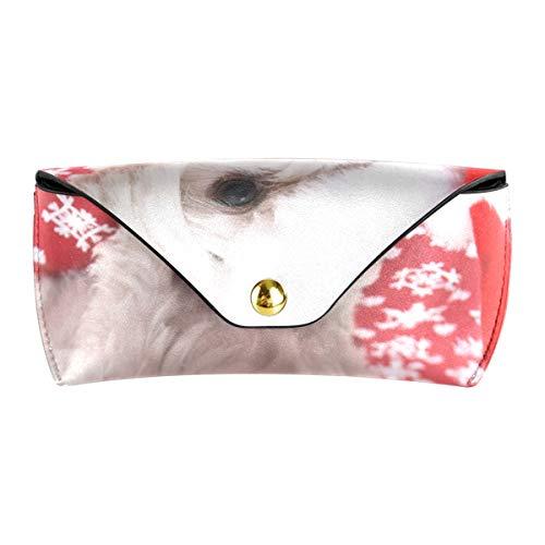 Titular Bolsa para gafas Portátil Multiuso Perro maltés blanco con sombrero de Navidad Gafas de sol de cuero de la PU Estuche Gafas Gafas