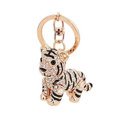 Ruiting Schlüsselanhänger modern Strass Tiger Keychain Handtasche Geldbörse Beutel Anhänger Deko Strass Anhänger Schlüsselanhänger Schwarz Tiger 1 Stück