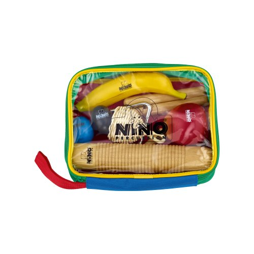 Nino Percussion NINOSET4 Percussion-Sortiment achtteilig mit bunter Designtasche