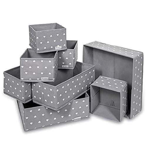 HOUSUM Faltbare Aufbewahrungsbox Stoff im 8er Pack, Schubladen-Organizer in verschiedenen Größen, Ordnungssystem Kleiderschrank, Büro und Bad, Schrank-Organiser Schlafzimmer, Storage Boxes, Grau