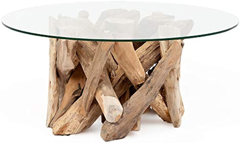 LEBENSwohnART Teak Couchtisch TORA-rund ca. D80cm Wohnzimmertisch Glastisch Holztisch Tisch