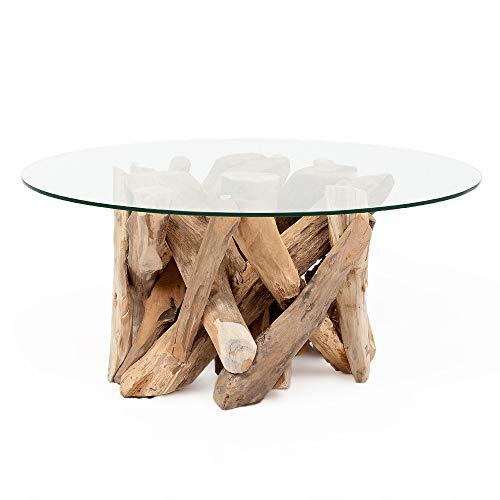 LEBENSwohnART Teak Couchtisch TORA-rund ca. D90cm Wohnzimmertisch Glastisch Holztisch Tisch