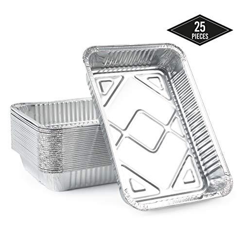 Matana 25 Grandes Bandejas de Aluminio Desechables, 31 x 21 cm Hornear, Asar y Cocinar, Seguro de Usar en Horno e Impermeable.