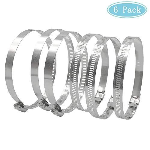 Mila-Amaz 6 Stück Große Größe Metall Schlauchschelle Klemme 91-114 mm Durchmesser Verstellbare Rohrschellen zur Sicherung von Schläuchen