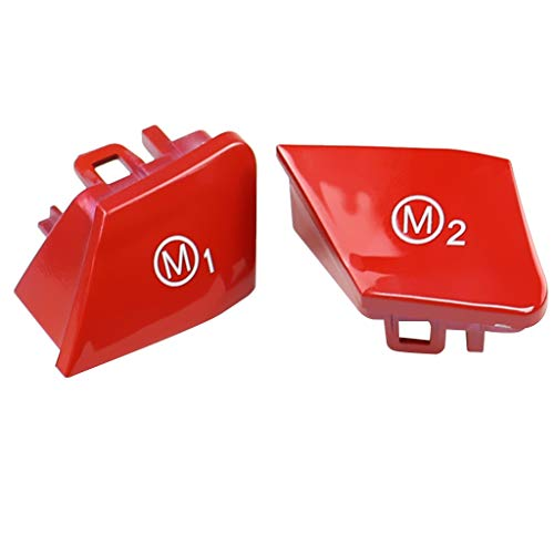 B Baosity 2 STK. Lenkrad Tasten Deckel Knopfschalter Abdeckung für BMW F30 F34 usw. - rot