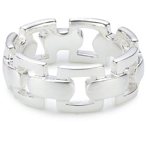 Vinani Ring Kettenmuster abgerundet mattiert glänzend Sterling Silber 925 Größe 64 (20.4) RKG64