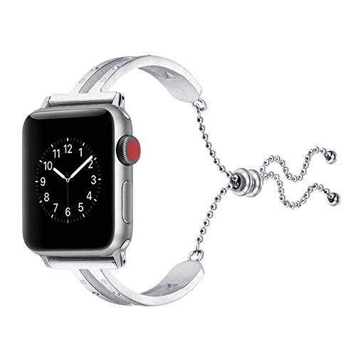 Metal Bands Compatible with Apple Watch 38mm 40mm 42mm 44mm Stainless Steel Strap Replacement Link Bracelet Band Sport Soft Breathable for Iwatch Series 6/SE/5/4/3/2/1 for Women Men Girls Boys, Rose G