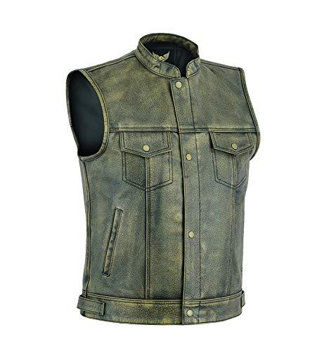 Leatherick Chaleco de motociclista de grano superior para hombre marrón envejecido con botones abiertos para montar y corte de moda de estilo chaleco, estilo SOA