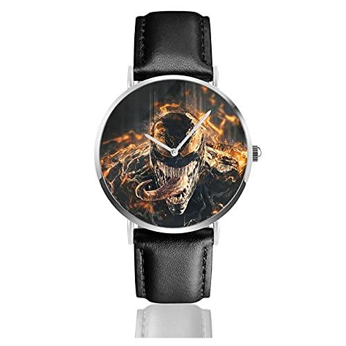 Ve-Nom Relojes Reloj de Cuero de Cuarzo con Correa de Cuero Negro para Hombre, Mujer, colección Joven, Casual de Negocios
