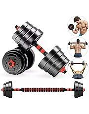 Anysun Halters Gewichtsset 2 in 1 10KG-50KG Paar Barbell Set Verstelbare Heftraining Met Drijfstang