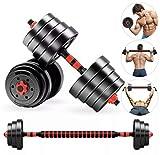 Anysun Juego de pesas 2 en 1 10 kg - 25 kg - Juego de pesas ajustables para entrenamiento de elevación con varilla de conexión