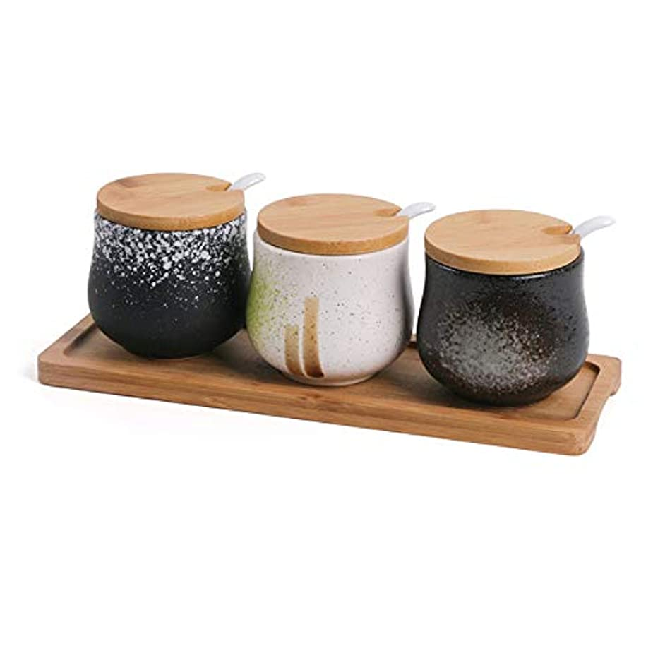 3pcs/lot Vintage Japanese Style Ceramic Spice Jar Bamboo Cover Seasoning Bottles Gravy Boats Oil Salt Candy Cans with Spoon Tray