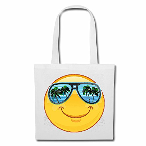 Tasche Umhängetasche Smiley IM Urlaub AUF Mallorca MIT Sonnenbrille Smileys Smilies Android iPhone Emoticons IOS GRINSE Gesicht Emoticon APP Einkaufstasche Schulbeutel Turnbeutel in Weiß