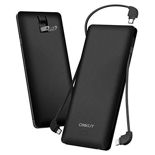 モバイルバッテリー 大容量( PSE認証済み 10000mAh 3ケーブル内蔵 1USBポート ライトニング/micro USB/type-cケーブル内蔵) スマホ 充電器 バッテリー 急速充電 軽量 薄型 コンセント 持ち運び便利 iphone/ipad/Android対応 黒