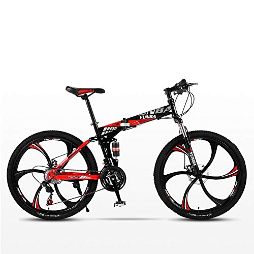 DSAQAO Folding Mountain 26 Pollici Bici,21 24 27 velocità 6 Parlato Bicicletta Full Suspension MTB Biciclette per Adulti Adolescenti Studente Rosso 21 velocità