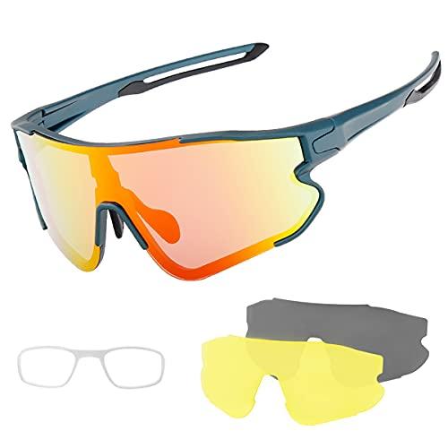 YJSJ Gafas De Sol Deportivas Polarizadas con 3 Lentes Hombres Béisbol Al Aire Libre Conducción Pesca Golf Correr Ciclismo Gafas Montaña De Las Mujeres Eyewear De La Bicicleta(Color:A2)