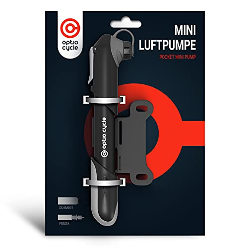 Mini-Fahrradpumpe Alle Presta und Schrader Ventile 120 PSI (8,3 Bar) 18 cm Kleine Praktische Tragbare 120 g Handpumpe Pumpe Luftpumpe Fahrrad mit Rahmenbefestigung und Klettverschluss für Unterwegs