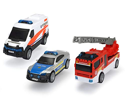 Dickie Toys 203712015 Theme Set SOS Team, 3er Spielset bestehend aus Rettungswagen, Polizei & Feuerwehrauto mit Wasserspritze, deutsche Version, ab 3 Jahren, Mehrfarbig