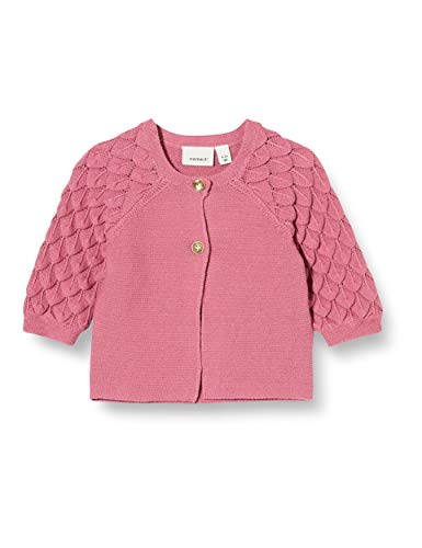 NAME IT Baby-Mädchen NBFFOLIRA LS Knit Card Strickjacke, Heather Rose, 80