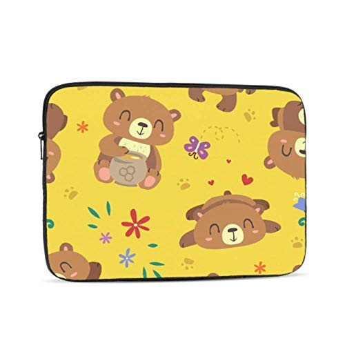 Bear Cartoon Yellow Pattern Neoprene Sleeve Pouch Case Bag for 11.6' Inch Laptop Computer. Designed to Fit Any Laptop/Notebook/ultrabook/MacBook with Display Size 11.6' Inches