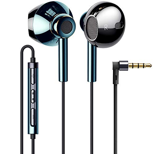 Linklike Quad Dynamic Drivers Hi-Res Extra Bass Earbuds Headphones Noise Isolating Wired Earbuds with Microphone, Lightweight Earphones with Volume Control 3.5mm Jack In-Ear Headphones -Midnight Green