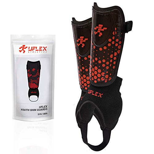 UFlex Athletics Slip and Slide Shin Guards for Kids and Teens - Protective Soccer Gear for Boys and Girls with Padded Ankle Support - Non Slip Adjustable Straps (X-Small)