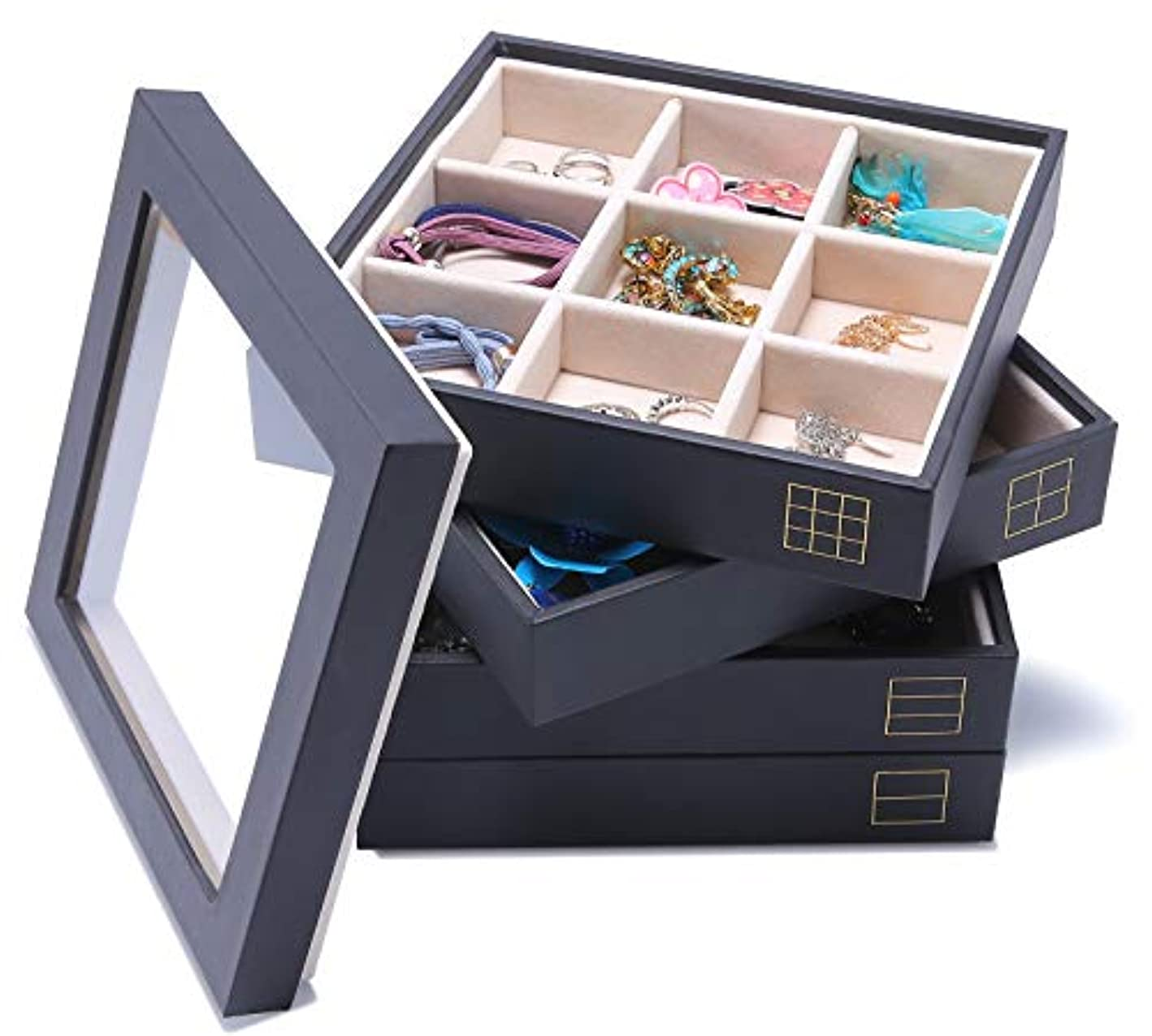 MUNLONG Stackable Jewelry Trays 4 with Lid Dresser Organizer Accessary Showcase Display Storage Drawer Insert