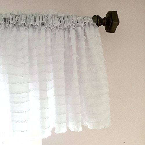 A Vision to Remember White Valance Curtain Sheer Ruffles Window Treatment, Kitchen Tier Drapery