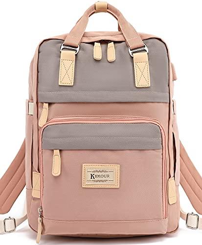 KeKour Rucksack Damen Lässiger Moderner Schulrucksack für 14 Zoll Laptop Rucksack Schule für Mädchen Teenager Camping, Reisen, Outdoor, Reisenr, Freizeit, Arbeit