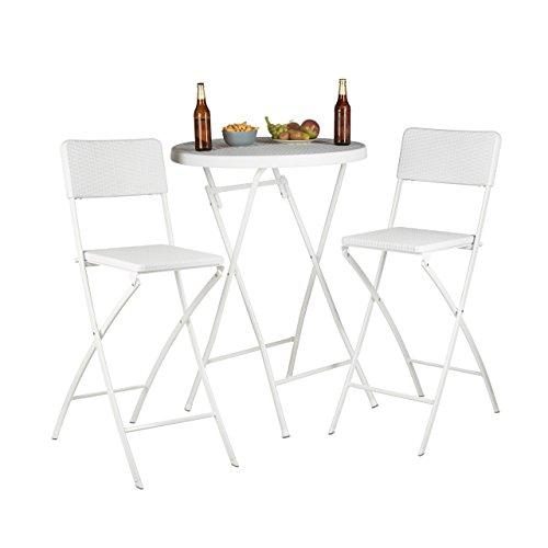 Relaxdays Barstuhl klappbar BASTIAN 2er Set, Rattan Optik, Rückenlehne, Barhocker faltbar, 78 cm hoch, Tresenhocker Klappstuhl, weiß