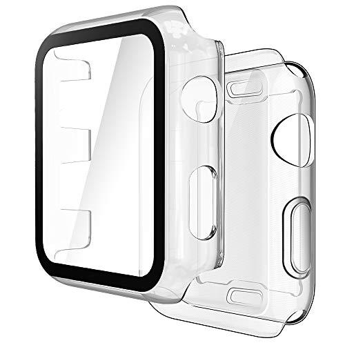 Simpeak 2 Pcs Funda Compatible con Apple Watch 38mm Series 3/2, 1 PC Case y Vidrio Protector de Pantalla Integrados+1 TPU Soft Protector de Pantalla, Transparente+Transparente