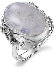 DJMJHG 925 Sterling Zilver Ring Natuurlijke Lapis Lazuli Witte Chalcedoon Maansteen Edelsteen Ring Grote Steen 11x17MM Ovale Gem