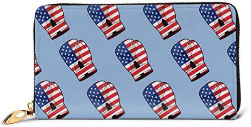 Damen-Portemonnaie mit USA-Flagge, Boxhandschuh, RFID-blockierender Reißverschluss, echtes Leder, Clutch, Kartenhalter, Reisegeldbörse