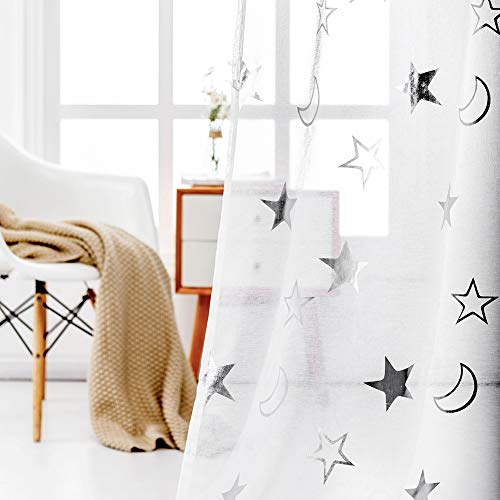 Star Curtains for Kids Room - Silver White Sheer Curtains 63 Inch Length Rod Pocket Sheer Panels Printed Star Window Curtain for Bedroom, 52 x 63 Inch, 2 Panels, Silver and White, by FINECITY