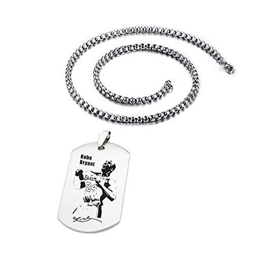 XCFS BEAUTY Edelstahl Kobe Basketball Star Memorial Souvenir Bryant Armee Tag Charm Anhänger Halskette